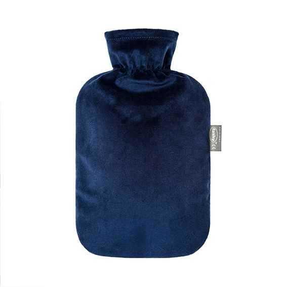 Wärmeflasche mit Flauschbezug marine