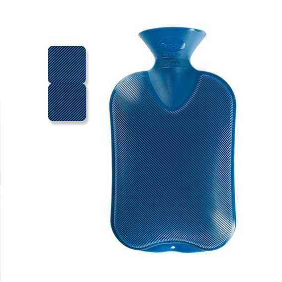 Wärmeflasche Doppellamelle blau