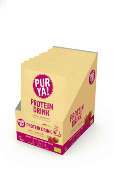 Vegan Proteindrink Vanille Erdbeer Bio Btl.