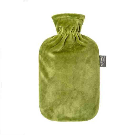 Wärmeflasche mit Flauschbezug grün