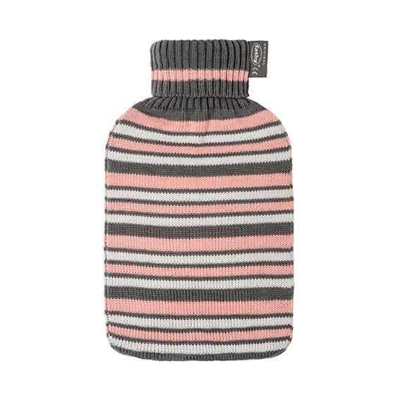 Wärmeflasche mit Strickbezug Streifen